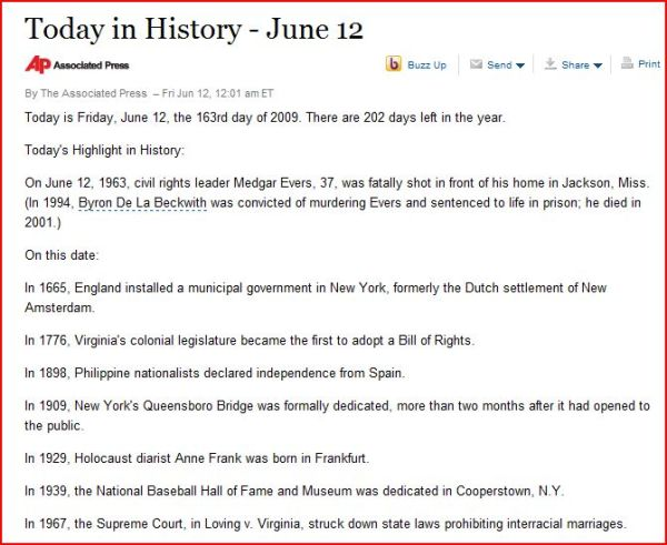 AP biased today in history june 12 2009