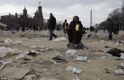 Trash and other debris scattered across the National Mall after obama inauguration ceremony