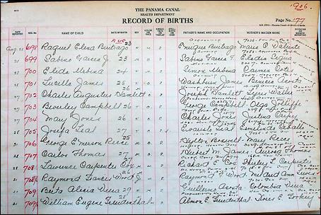 panama records of birth for Coco Solo
