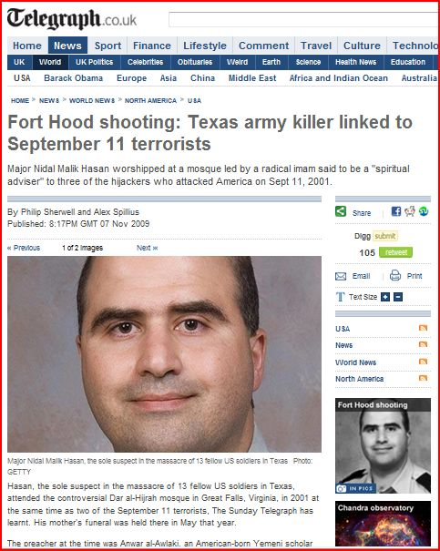 UK telegraph Hasan connected to 9-11 terrorists